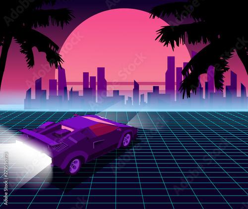 Retro future  80s style sci-fi background with supercar