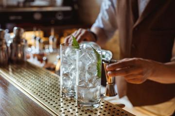 Prepairing gin and tonic at the bar