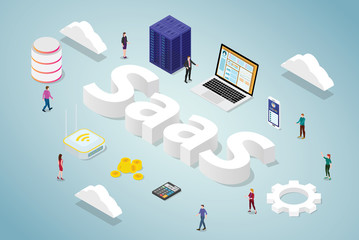 saas software as a service business concept with big word and server database computer app website with isometric modern style - vector