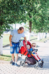 Aluminium Prints Indonesia father spent time with children, stroller, summer, caucasian family