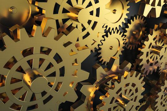 Creative golden cog wheels background