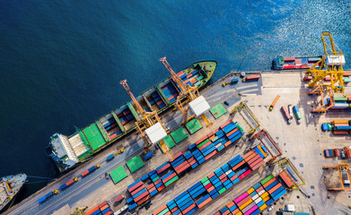 Logistics and transportation of Container Cargo ship and Cargo import/export and business logistics, Shipping , Top view ,Aerial view from drone Wall mural