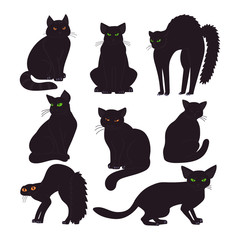 Black cats collection isolated on white background. Witch pet. Vector illustration in cartoon style