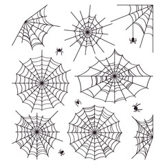 Cobweb collection isolated on white background. Scenery for Halloween. Silhouettes of spiders. Vector illustration