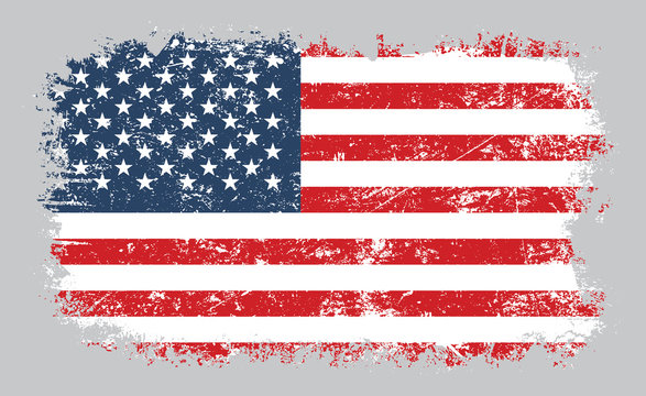 Grunge old American flag vector illustration