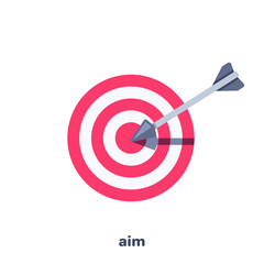 flat vector image on white background, target with arrow jutting out of it, business icon goal achievement