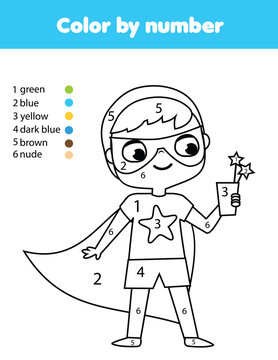 Superkid. Boy in superhero costume. Coloring page for kids. Educational children game. Color by numbers activity