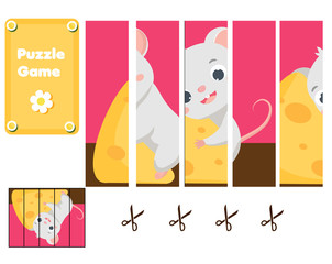 Cute mouse and chees. Puzzle for toddlers. Match pieces and complete the picture. Educational game for children