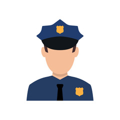 Police officer avatar illustration. Trendy policeman icon in flat style.