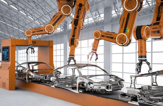 Automation aumobile factory concept