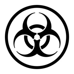 Biohazard symbol icon in a circle
