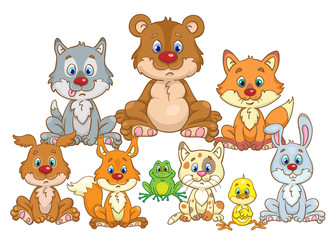 Keuken foto achterwand Beren Portrait of cute forest dwellers. Bear cub, wolf cub, chanterelle, rabbit, kitten, dog, chick, frog and squirrel are sitting in the meadow. In cartoon style. Isolated on white background.