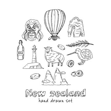 New Zealand hand drawn doodle set. Vector illustration. Isolated elements. Symbol collection.