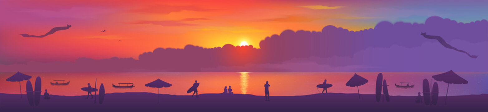Typical sunset view of Bali island Kuta beach with kites, surfing boards, beach umbrellas, fishing boats and surfers silhouettes.Vector banner illustration