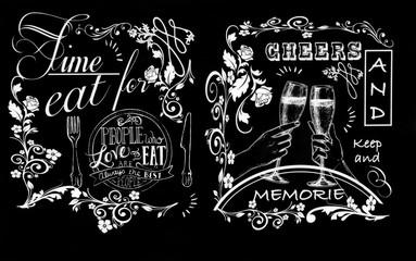 Enseigne style old school pour bar à vin, café, bar, restaurant en craie sur tableau noir menu repas et champagne texte en anglais avec dessin à la main