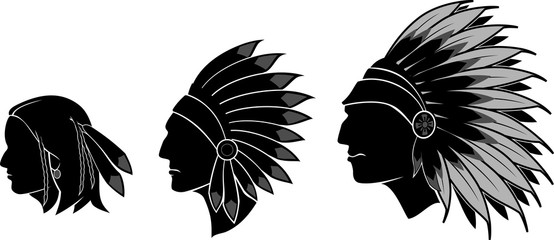Native Indian Male Head, Silhouettes