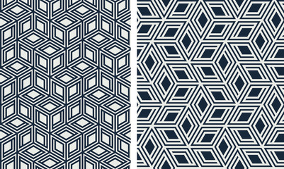 Set of seamless patterns. Abstract geometric background vector illustration Fototapete