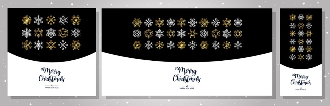 Set gold greeting cards Merry Christmas. Vector illustration with Christmas elements snowflakes. Simple modern pattern.
