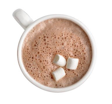 Cocoa drink in white mug
