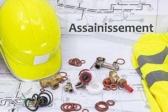Assainissement Ressource graphique avec plan de maison équipement de sécurité et matériel de plomberie