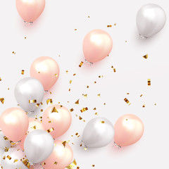 Festive background with helium balloons. Celebrate a birthday, Poster, banner happy anniversary. Realistic decorative design elements. Vector 3d object ballon, pink and white color.