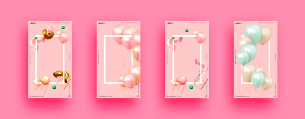 Festive background with helium balloons, 3d geometric objects. Celebrate a birthday, Poster, banner happy anniversary. copy space for text. Vector ballon, pink color. social media story template