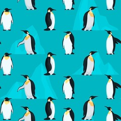 Pattern seamless with penguins and bright icebergs