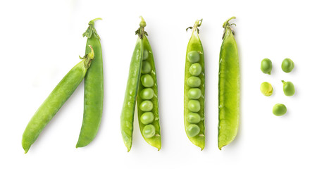pea pods and single fresh green peas isolated on a white background, food / nutrition design elements, top view