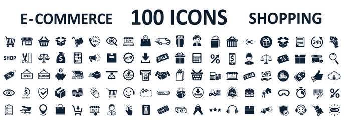 Shopping icons 100, set shop sign e-commerce for web development apps and websites - stock vector Wall mural