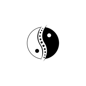 chinese yin and yang chiropractic logo spine spinal care vector icon illustration