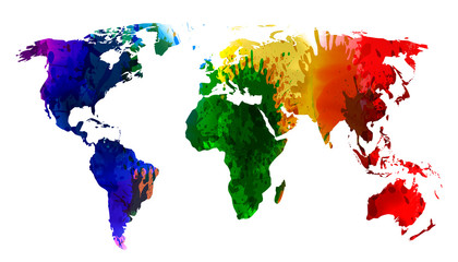 World Map watercolor, Colorful splash continents of the planet - stock vector