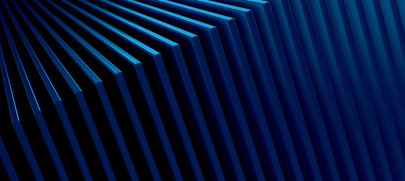 The abstract blue metal pattern background. 3D illustration.