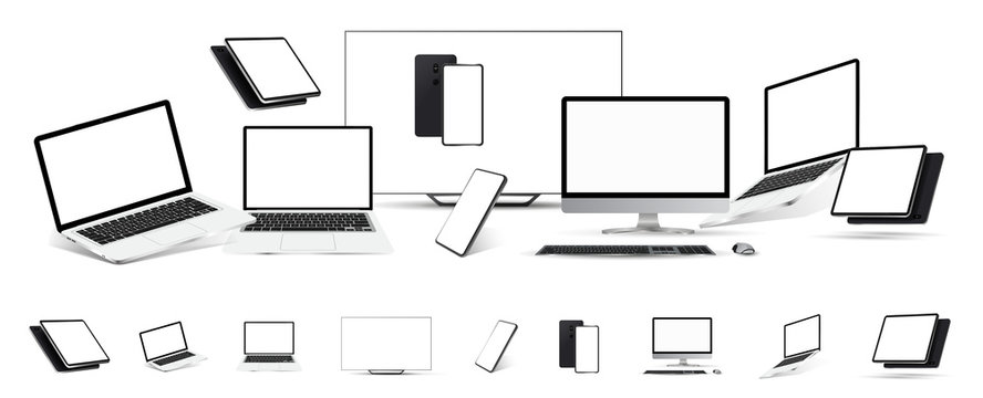 Gadgets Mockups set of 3D realistic style. (tablet, tv, laptop,mobile cellphone, pc monitor) Mockup gadgets isolated on white background. Template for presentation. Vector technique