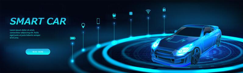 Isometric smart car banner. Autonomous car with icons. Electric machine infographic banner. Futuristic isometric smart car and icons with machine benefits. Intelligent 3D car - vector banner.