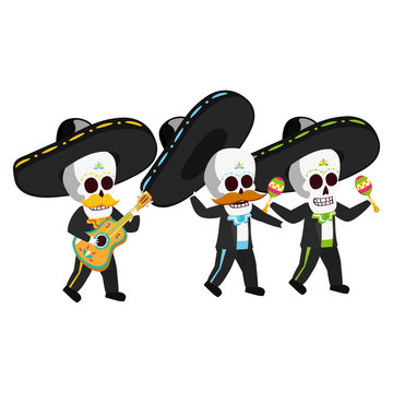 mexican skulls mariachis playing guitar and maracas