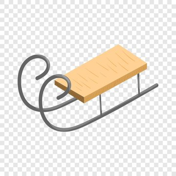 Wooden sled icon in cartoon style isolated on background for any web design