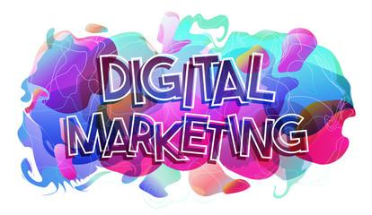 Papier Peint - Digital Marketing word, vector illustration.