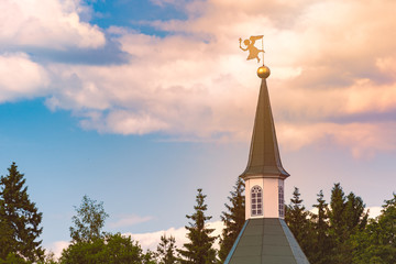 Windvane on top of church tower in Russia