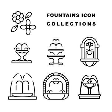 fountain water logo editable stroke line. fountain silhouette vector design. Water splash icon set
