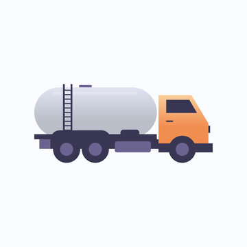 gas or oil tanker truck icon land transport logistic industrial transportation concept flat white background