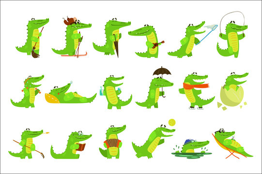Humanized Crocodile Character Every Day Activities Set Of Illustrations
