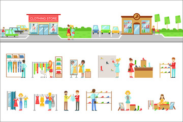 Clothing Store Exterior And People Shopping Set Of Illustrations