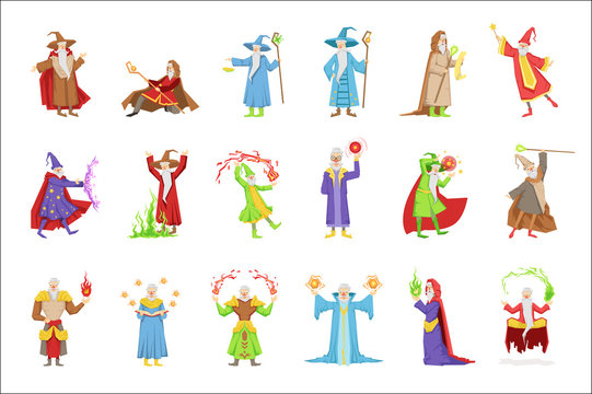Classic Fantasy Wizards Set Of Characters. Fairy Tale Mages Colorful Fun Vector Drawings On White Background