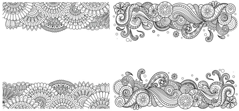 Beautiful mandala wave frames set for print on product or adult coloring book, coloring page. Vector illustration