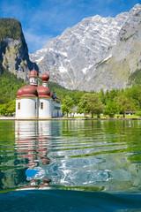 Lake Königssee with St. Bartholomä pilgrimage chapel in summer, Bavaria, Germany