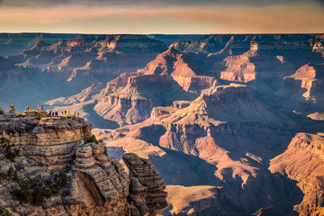 Wall Mural - Hikers in Grand Canyon National Park at sunset, Arizona, USA