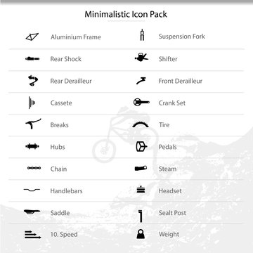 Bicycle parts and components icons for eshop menu.