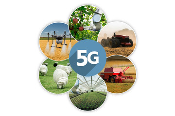 Wall Mural - 5G network for control smart farm. Smart agriculture 4.0.