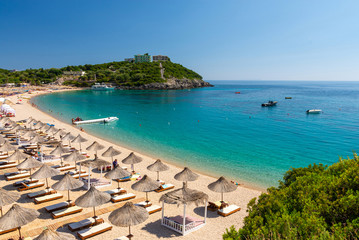 view on beautiful Jale beach in Himare, Albania