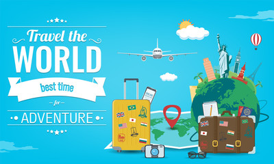 Travel composition with famous world landmarks. Travel and Tourism concept. Vector Wall mural